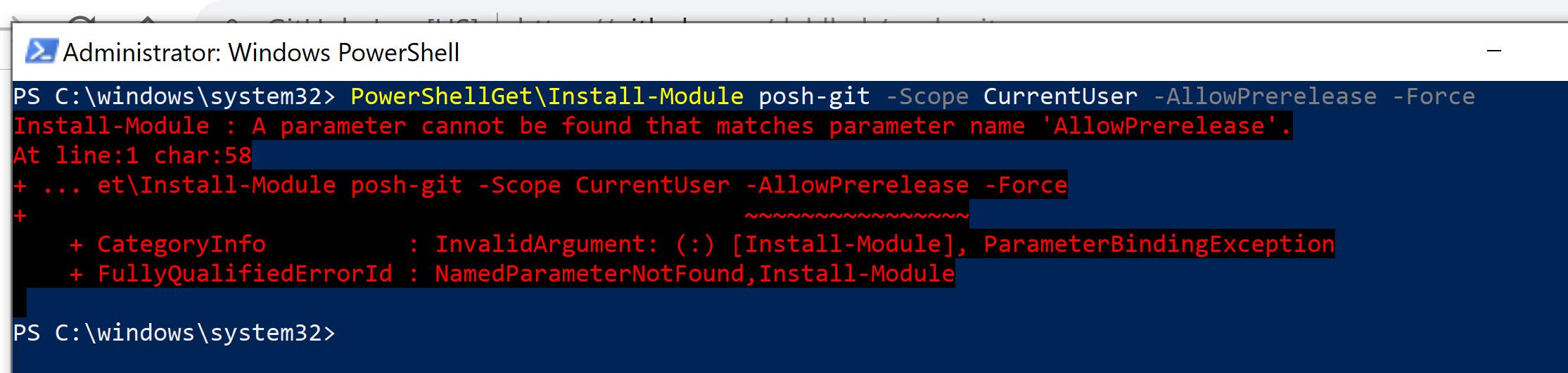 PowerShell PostGit install command